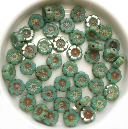 0100033 Opaque Green Turquoise Picasso, Table Cut 16 Pc.-0