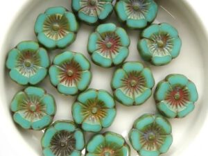 0100035 Opaque Green Turquoise Picasso, Table Cut 8 Pc.-0