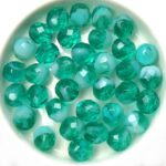 0100333 Teal Mix with White Opal, Facet 8 mm. 15 Pc.-0