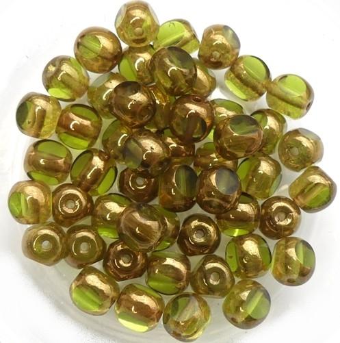 0100412 Olivine Bronze 3 Cut 6 mm. 22 Pc.-0
