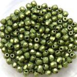 0100428  Matte Metallic Green Facet, 3 mm. 65 Pc.-0