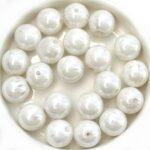 0140043 White Alabaster Luster pressed round 10 mm. 14 Pc.-0