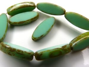 0100037 Opaque Light Green Turquoise Travertin Table Cut Bead. 6 Pc.-0
