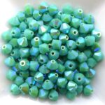 04-MC-63130-28701X2 Bicone Opaque Green Turquoise 2X AB 4 mm. 50 Pc.-0