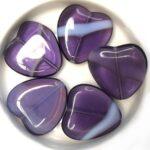 0080274 Amethyst / White Opal Mix Heart 4 Pc-0