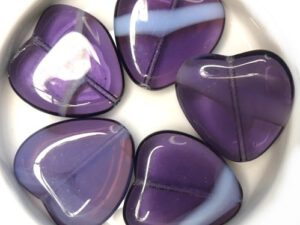 0080274 Amethyst / White Opal Mix Heart 4 Pc-0