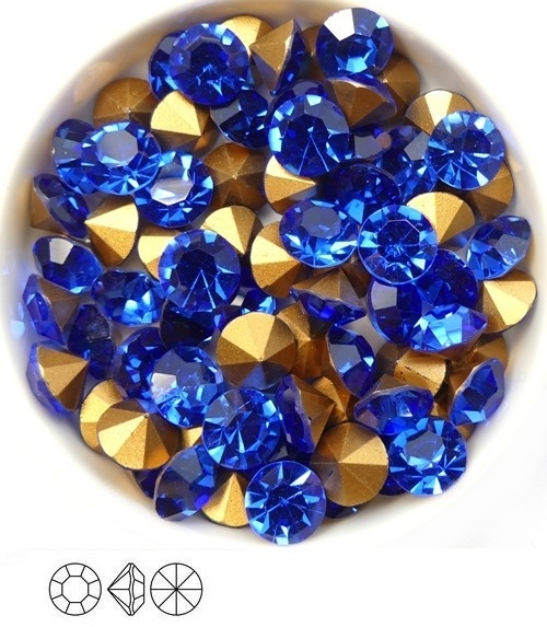 SS39-MCC-30050-98521 Sapphire Gold Foiled Chaton 8 mm. 12 Pc.-0