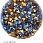 SS29-MCC-30020-98521 Light Sapphire Gold Foiled Chaton 6 mm. 12 Pc.-0
