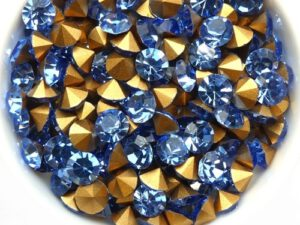 SS29-MCC-30020-98521 Light Sapphire Gold Foiled Chaton 6 mm. 12 Pc.-0