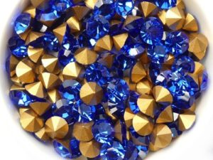 SS29-MCC-30050-98521 Sapphire Gold Foiled Chaton 6 mm. 12 Pc.-0