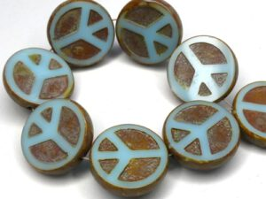 0090258 Light Opaque Blue Turquoise Travertin Table Cut Peace Bead. 4 Pc.-0