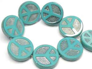 0100052 Opaque Green Turquoise Chrome Table Cut Peace Bead. 4 Pc.-0
