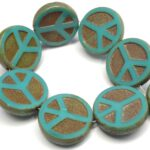 0100053 Opaque Green Turquoise Travertin Table Cut Peace Bead. 4 Pc.-0