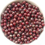 04-R-93200-43400 Opaque Red Silver Travertin Round 4 mm. 100 Pc.-0