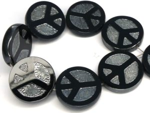 0010093 Jet Chrome Table Cut Peace Bead. 4 Pc.-0