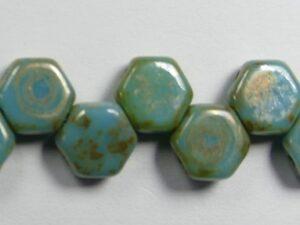 HON-63030-43400, Blue Turquoise Picasso Honeycomb Beads, 30 stuks-0