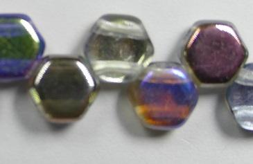HON-00030-98537, Crystal Graphite Rainbow Honeycomb Beads, 30 stuks-0