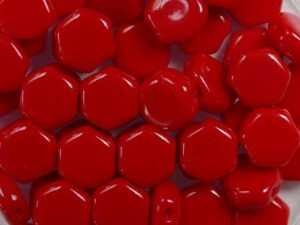 HON-93190, Opaque Red Honeycomb Beads, 30 stuks-0