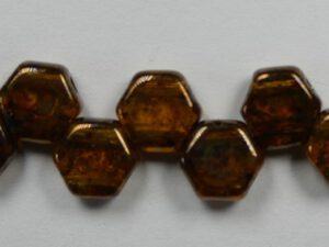 HON-10060-15695 Topaz Bronze Picasso Honeycomb Beads, 30 stuks-0