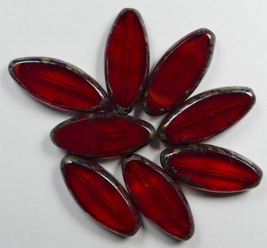 0050277 Oxblood Light Siam Silver Picasso Table Cut Bead. 5 Pc.-0