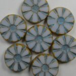 0140256 White Alabaster Turquoise blue Wash Picasso Table Cut Sunflower Bead 6 Pc.-0