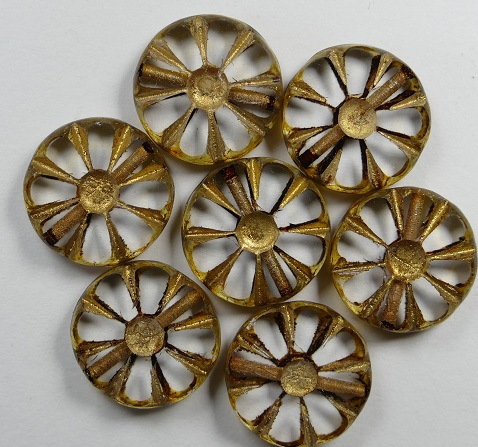 0150067 Crystal Picasso Gold Wash Table Cut Sunflower Bead 6 Pc.-0