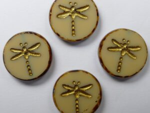 0040250 Opaque Beige Travertin Gold Wash Dragonfly Table Cut 4 Pc.-0
