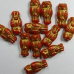 OWL-93420-54302 Owl Bead Opaque Red Gold Patina 12 Pc.-0