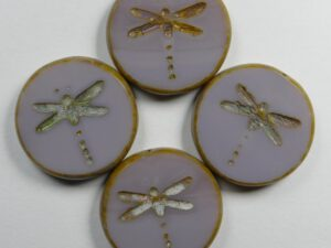 0080347 Coral Lavender Picasso Dragonfly, Table Cut 4 Pc.-0