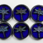 0090391 Cobalt Picasso Dragonfly, Table Cut  4 Pc.-0