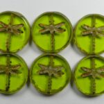 0100523 Light Olivine Picasso Dragonfly, Table Cut  4 Pc.-0