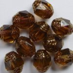0030122 Dark Smoke Topaz Bronze Facet Cathedral Beads 8×6 mm. 10 Pc.-0