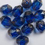 0090387 Dark Aqua Copper Antique Style Cathedral Beads 12 Pc.-0