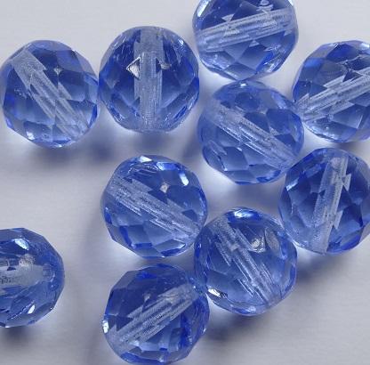 0090388 Light Sapphire facet 10 mm. 10 Pc.-0