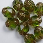 0100522 Olivine Bronze Antique Style Cathedral Beads 10 Pc.-0