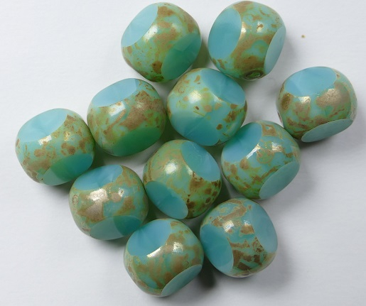 0100525 Turquoise Picasso 3 Cut 10 mm. 5 Pc.-0