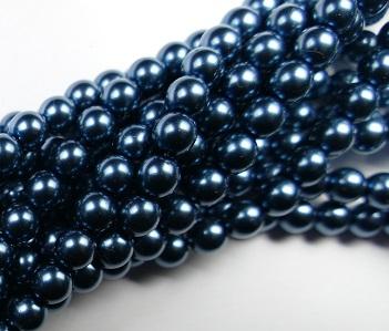 06-132-19001-24648 Shiny Dark Cyan 6 mm. Glass Pearl 100 Pc.-0