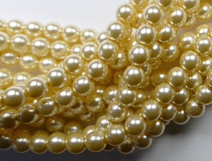 06-132-19001-10001 Shiny Old Lace 6 mm. Glass Pearl 100 Pc.-0