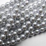 06-132-19001-70483 Shiny Platinum 6 mm. Glass Pearl 100 Pc.-0