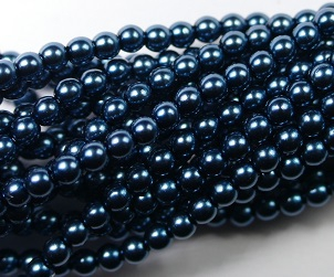 03-132-19001-24648 Shiny Dark Cyan Glass Pearl 150 Pc. -0