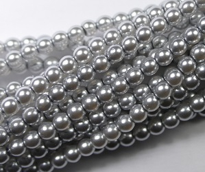 03-132-19001-70483 Shiny Platinum Glass Pearl 150 Pc. -0