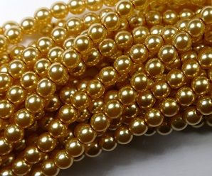 04-132-19001-70486 Shiny Light Gold Glass Pearl 120 pc-0
