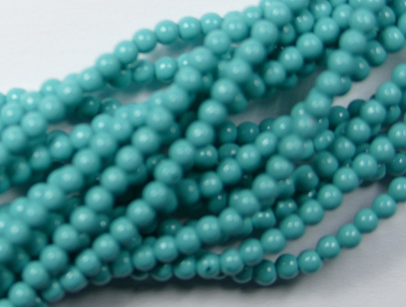 03-132-19001-48655 Shiny Turquoise Blue Glass Pearl 150 Pc. -0