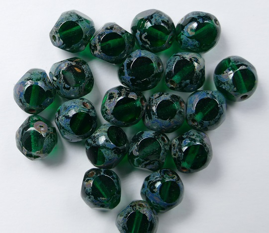 0100526 Emerald Picasso Soccer Bead 8 mm. 10 Pc.-0