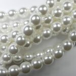08-132-70400 Shiny Bright White Glass Pearl 25 Pc.-0