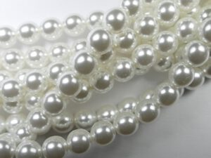 08-132-70400 Shiny Bright White Glass Pearl 25 Pc.-0