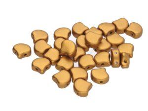 GIN-00030-01740 Matubo 2 Hole Ginko Bead Bronze Gold 10 gram-0