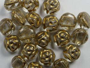 CR-00030-00006 Crystal Bronze Painted 2-hole Candy Rose Bead 20 Pc.-0