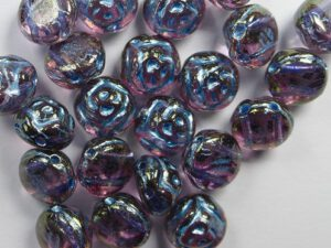 CR-00030-96842 Crystal Gold Luster Light Blue Painted 2-hole Candy Rose Bead 20 Pc.-0