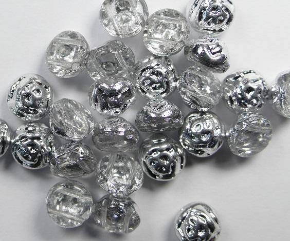 CR-00030-27001 Crystal Labrador Half 2-hole Candy Rose Bead 20 Pc.-0